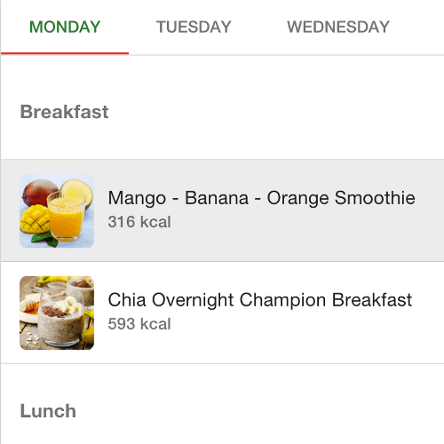 Meal Planner interface overview: breakfast